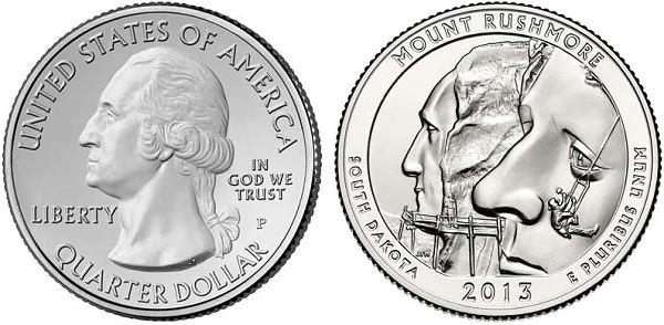 25 Centov USA 2013, Mount Rushmore