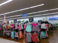 Children's clothing/baby department, under a real drop ceiling