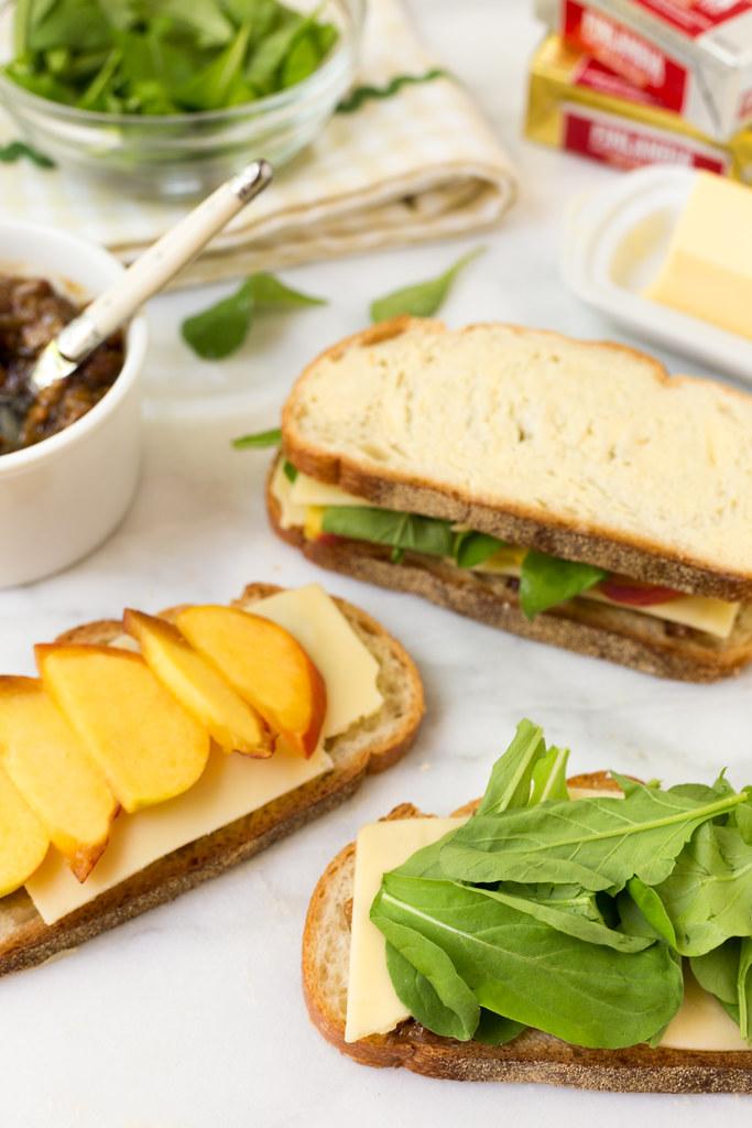 Assembling the grilled swiss sandwiches #sponsored #finlandiacheese #finlandiabutter