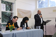 Zane Alcorn, Samantha Ratnam and Peter Khalil at Fawkner candidates forum Fawkner