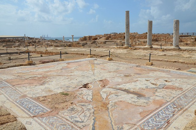 The Ibexes Mosaic Hall in the Praetorium, the Byzantine Governor's Palace, combining administration, financial and judicial functions, Caesarea Maritima, Israel