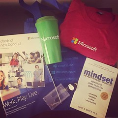 What's in the bag from orientation from @microsoft? A badge holder, a t-shirt (the back says