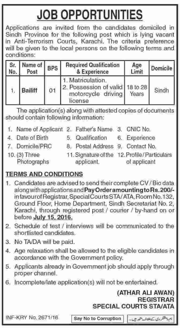 Anti Terrorist Court Karachi Bailiff Required