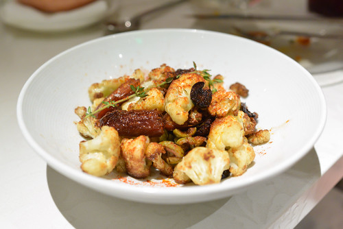 Coliflor Con Olivas Y Frutos Secos sautéed cauliflower with dates and olives
