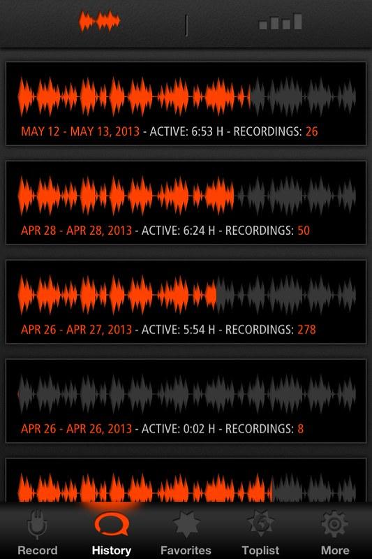 Sleep talk 12-13 mei. active 6h53, 26 recordings