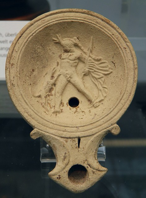 Terracotta oil lamp depicting Actaeon being torn apart by his own dog, 1st century AD, Staatliche Antikensammlungen, Munich