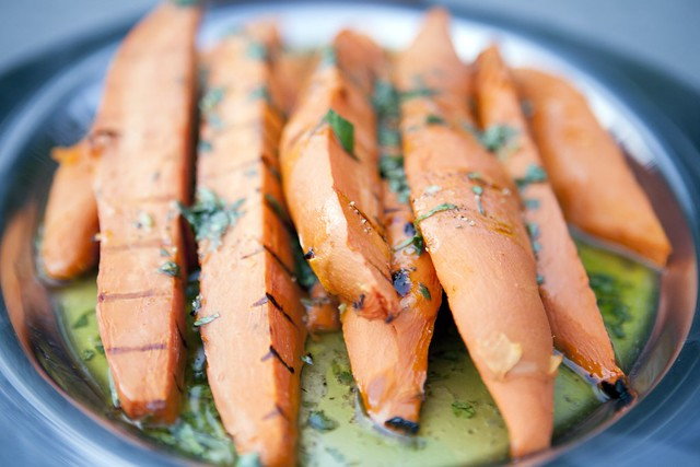 Grilled Sweet Potatoes with Cilantro-Lime Vinaigrette