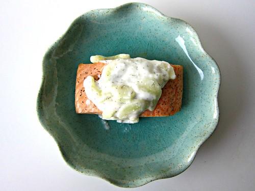 Salmon with Creamy Cucumber Dill Sauce