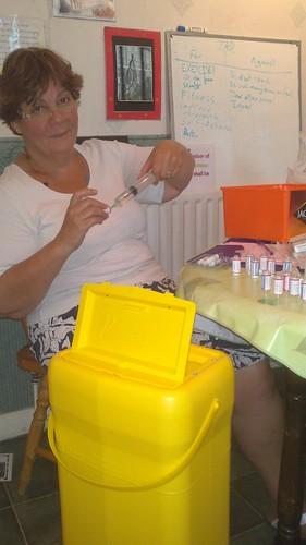 Jane loads another syringe