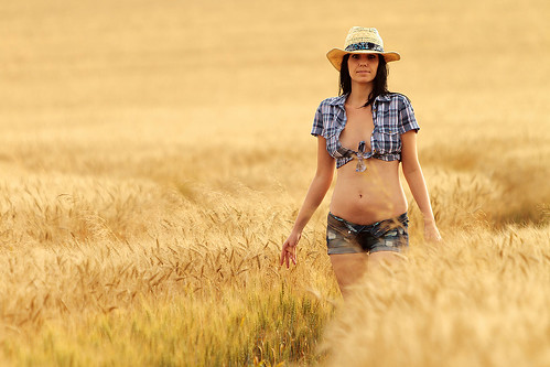 blue woman hot sexy girl hat shirt female glamour corn cowboy body feminine wheat jeans shorts cowgirl checkered