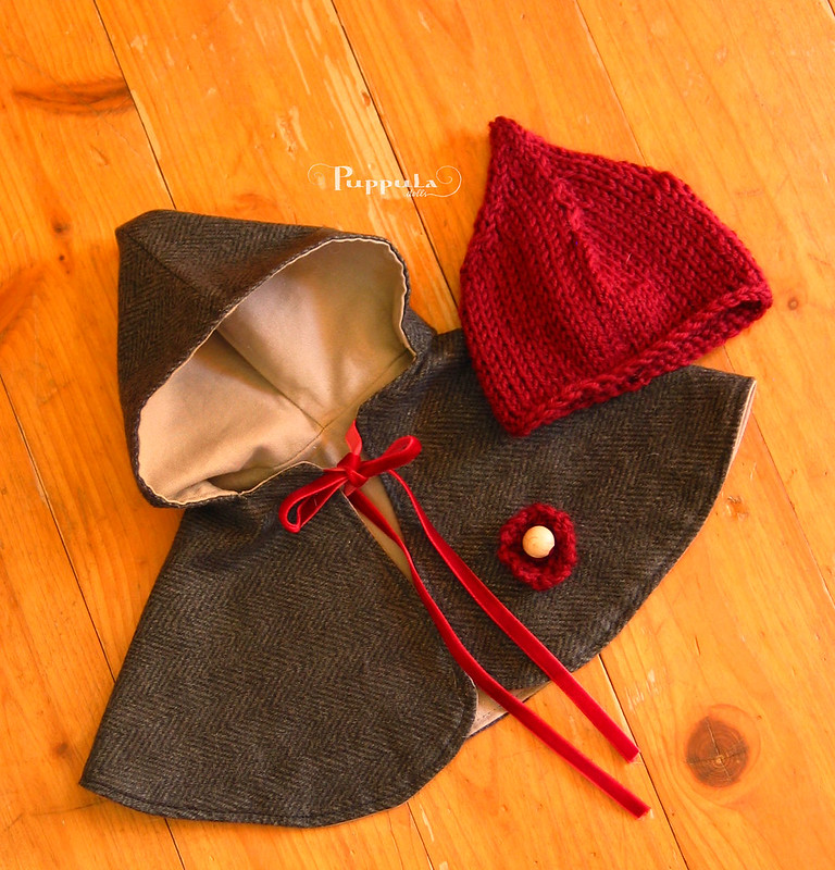 Cape and knitted hat for a 12 inch doll
