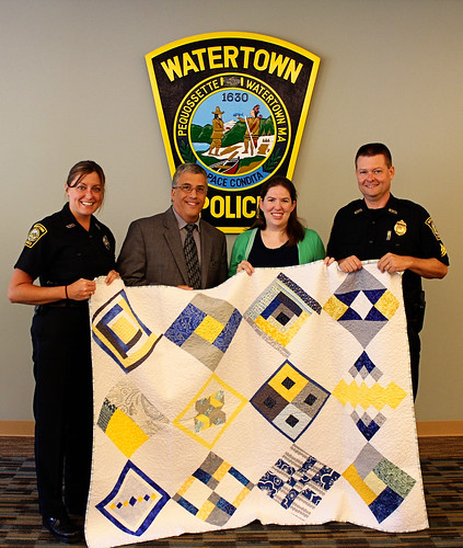 Handing off the Quilts at Watertown PD