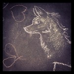 Heroic looking doggie - chalk drawings at #sarjakuvafestivaalit