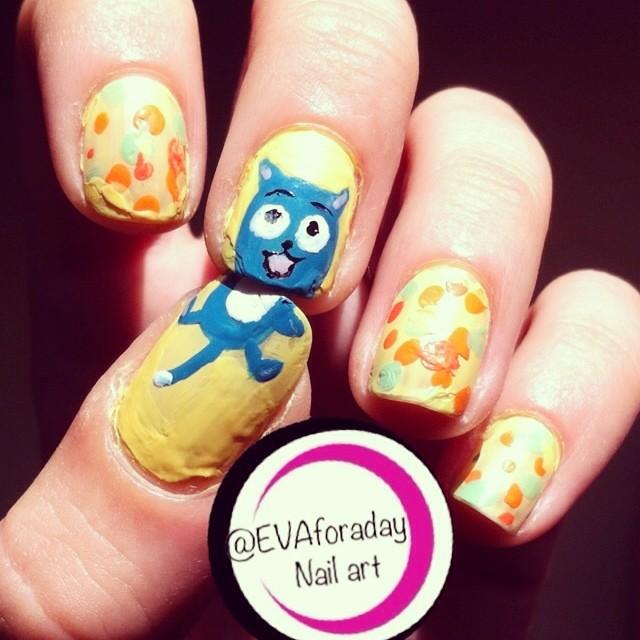 Fairy Nail Art: Happy (Fairy Tail) Nail Art~ #nailart #fairytail #happy