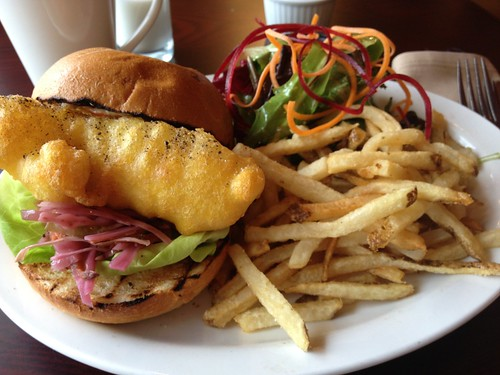November 8 #dailylunches #500 - battered cod on a bun at Petit Bills Bistro