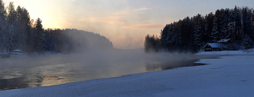 winter sun mist snow cold nature water fog sunrise