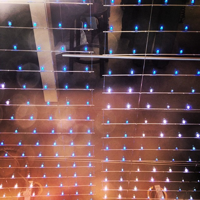 These LED light curtains in the Apple Store window display ...