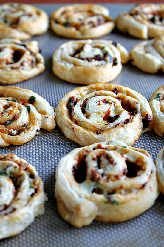 Buffalo Style Pinwheels with Bacon and Blue Cheese