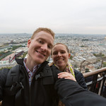 Chris and Emily at the second level of the Eiffel Tower