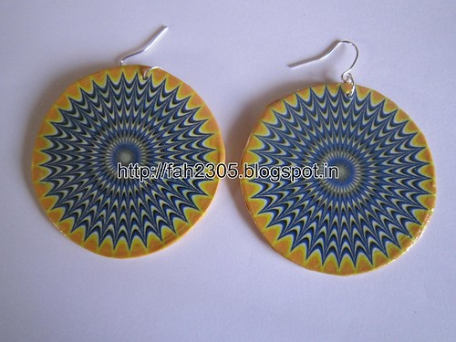 Handmade Jewelry - Card Paper Disk Earrings (3) by fah2305