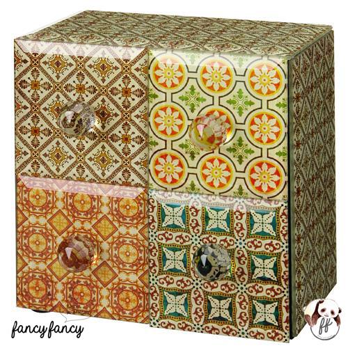 63.殖民風圖騰飾品收納盒-黃綠色