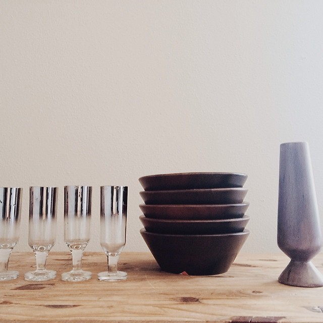 #latergram from Sunday. Vintage finds for the shop: four silver ombré shot glasses, five walnut bowls, mid century ceramic vase. #vintage #thrifting #thrifted