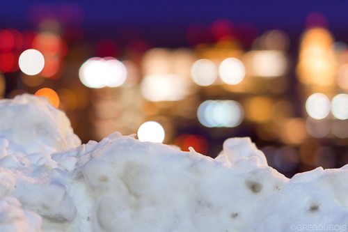 Boston Skyline Bokeh over Snow Bank and Harbor, Carlton's Wharf East Boston by Greg DuBois Photography