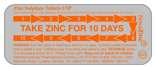 Blister pack for Zinc adherence
