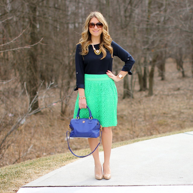 green lace skirt spring outfit idea office work