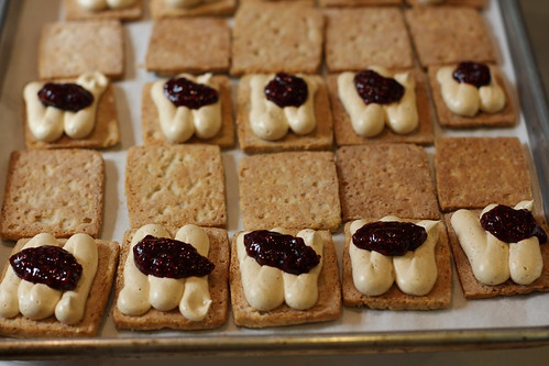 Smoked almond shortbread with frosting and rasp