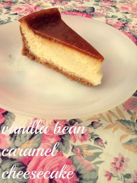 vanilla bean caramel cheesecake slice