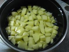 鍋に入れてひたひたの水と塩を加えます