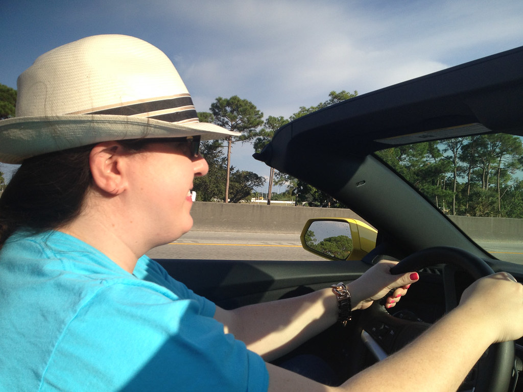 Me driving in the convertible from Fort Lauderdale to Key Largo