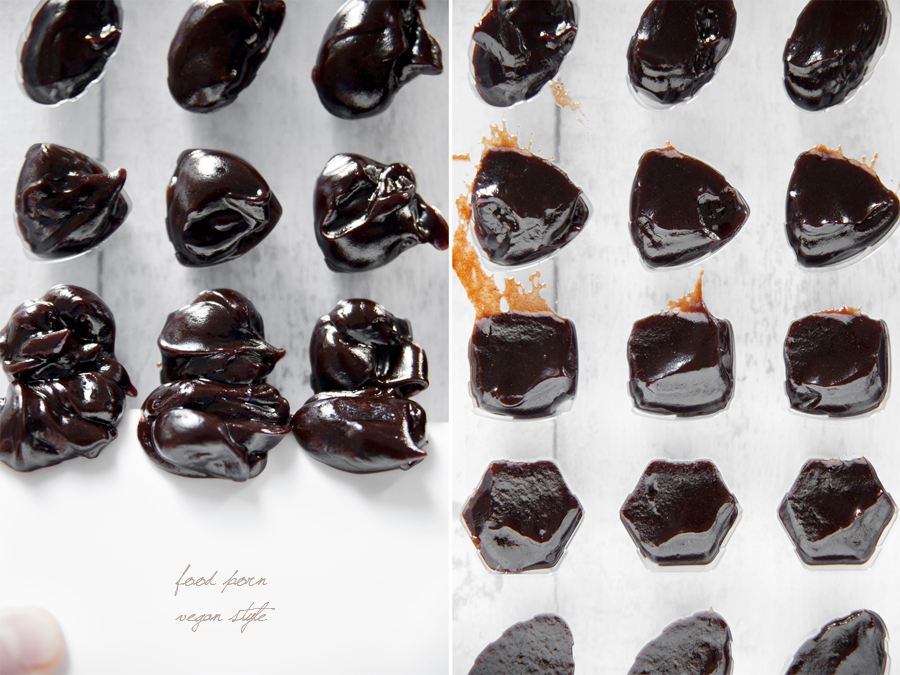 Homemade vegan chocolate with carob