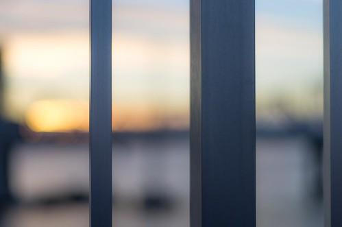 sunset sky orange abstract color metal square bars kentucky indiana pole louisville jeffersonville bigfourbridge