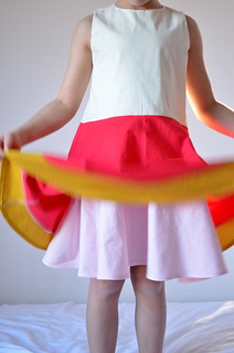 color-blocked swing dress