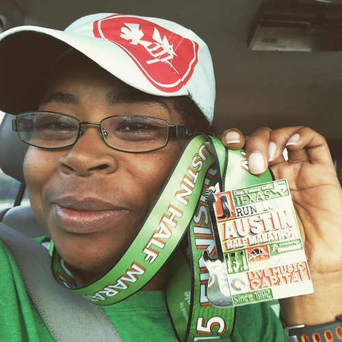 I've come to terms with my switching to the half marathon, it was for the best cause I've got marathons the next 3 weeks! I love this medal though! #runaustin #runalltheraces #runhappy #headsweats