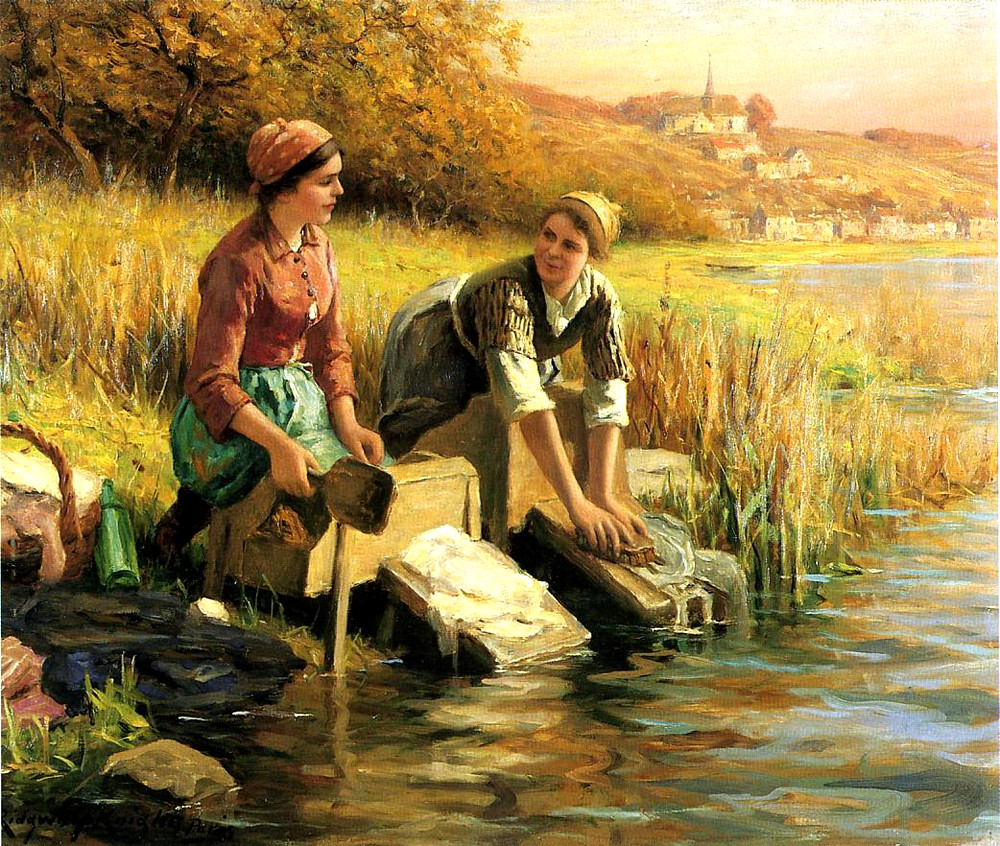 Women Washing Clothes by a Stream by Daniel Ridgway Knight, 1898