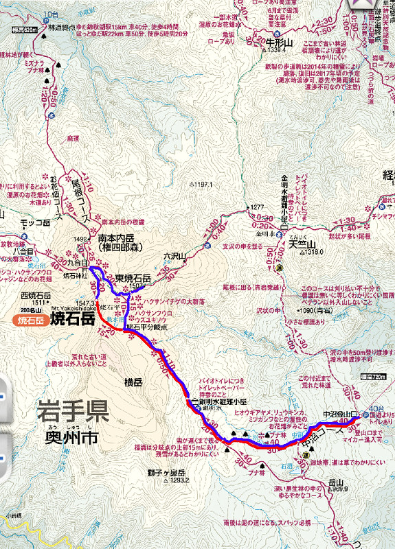 焼石岳地図