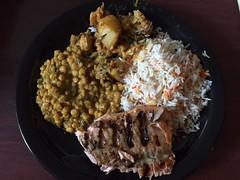 rice,salmon,daal ali gobi