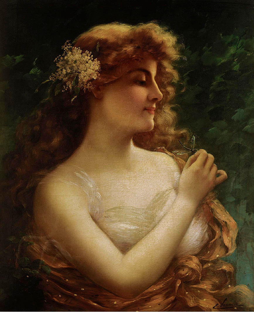 Young Woman with a Dragonfly by Emile Vernon - Date unknown