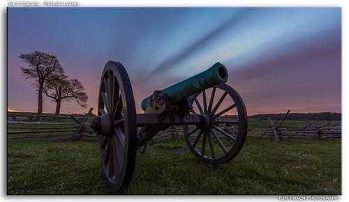 longexposure bulb pennsylvania gettysburg cannon