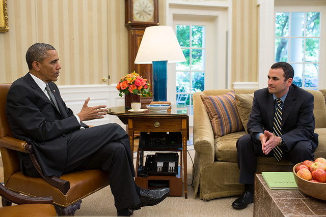 President Obama speaks to incoming acting IRS commissioner Daniel Werfel. Image from the official White House flickr. Licensed as U.S. Government Work.