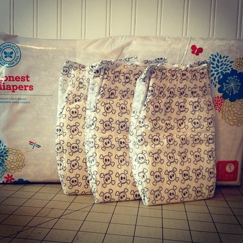 I can't wait to wrap Baby Boys Bootie in these cool diapers!!! #babyboy #honestcompany #skullsandcrossbones #babybootie