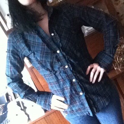 Ralph Lauren green plaid ruffle blouse from tag sale in Great Neck