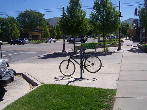 A bicycle rack in the 9th and 9th commercial district, Salt Lake City
