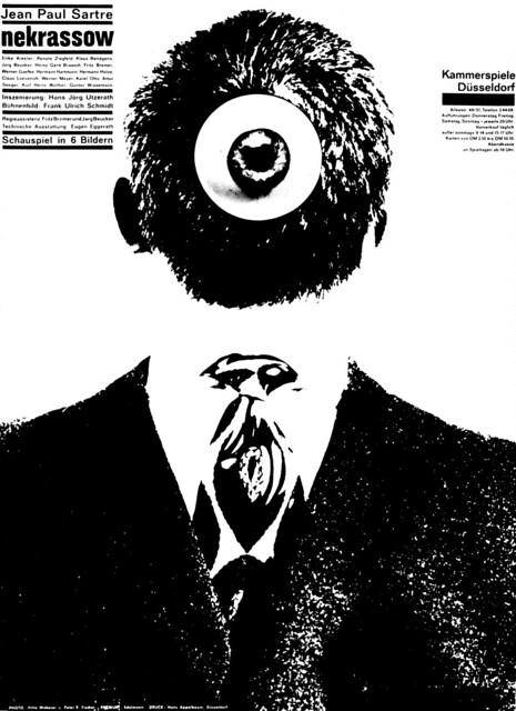 Edelmann (Heinz, DE) Wobeser (Hilla, DE - Ph) Fischer (Peter E., DE - Ph) 1961 Jean Paul Sartre - Nekrassow (Kammerspiele Düsseldorf) Plakat A1