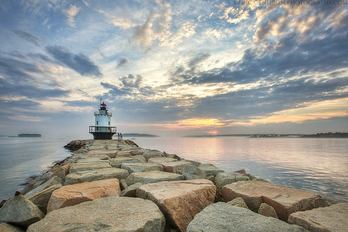 ocean morning light cliff cloud lighthouse seascape color art water rock photoshop sunrise canon portland landscape dawn coast harbor scenery jetty south tide maine scenic newengland wideangle scene atlantic coastal shore granite nautical hdr breaker seacoast breakwater photomatix springpointledge 5dmarkii ericgendron springpointsunrise