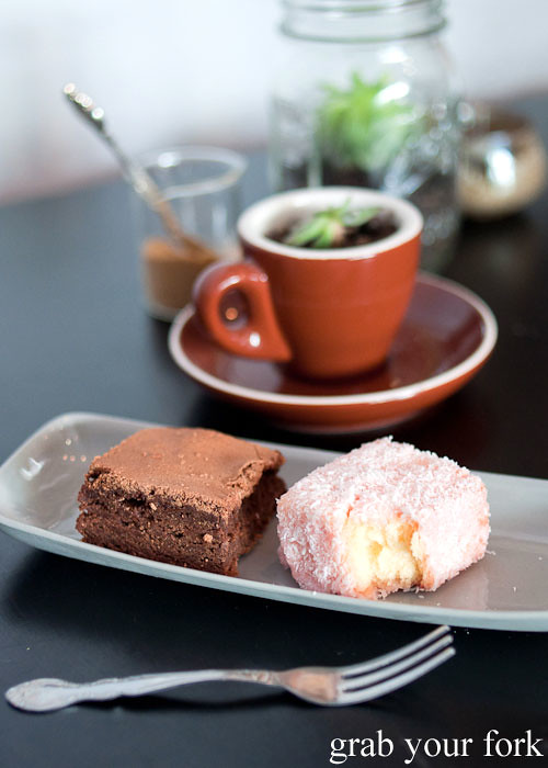 single origin venezuelan chocolate brownie and hubba bubba lamington desserts at in the annex cafe, forest lodge, glebe