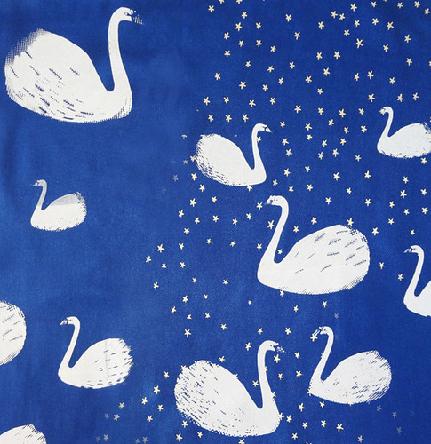 Swan Scarf - Blue. Detail.